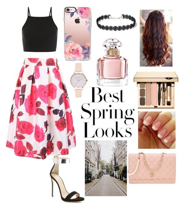 """""""Spring 🎀🌸🎀🌸🎀🌸"""" by raneliperera on Polyvore featuring Giuseppe Zanotti, Casetify, Guerlain, H&M, WithChic, Chanel and Olivia Burton"""