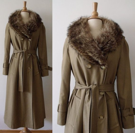 70s Trench Coat with Raccoon Fur / 1970s JULES by Vintagedustshop