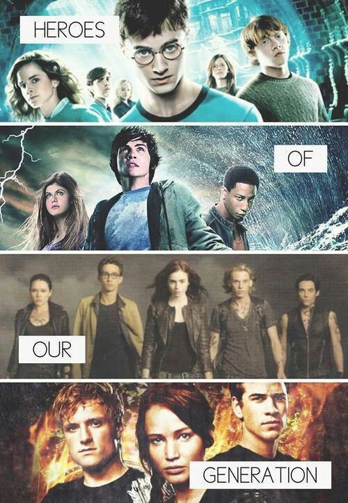 Harry Potter- Percy Jackson- The Mortal Instruments and The Hunger Games. ALL OF MY FAVOURITE STUFF!!!