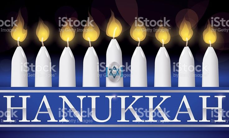 Traditional Hanukkah Lighted Candles with Silver Letters