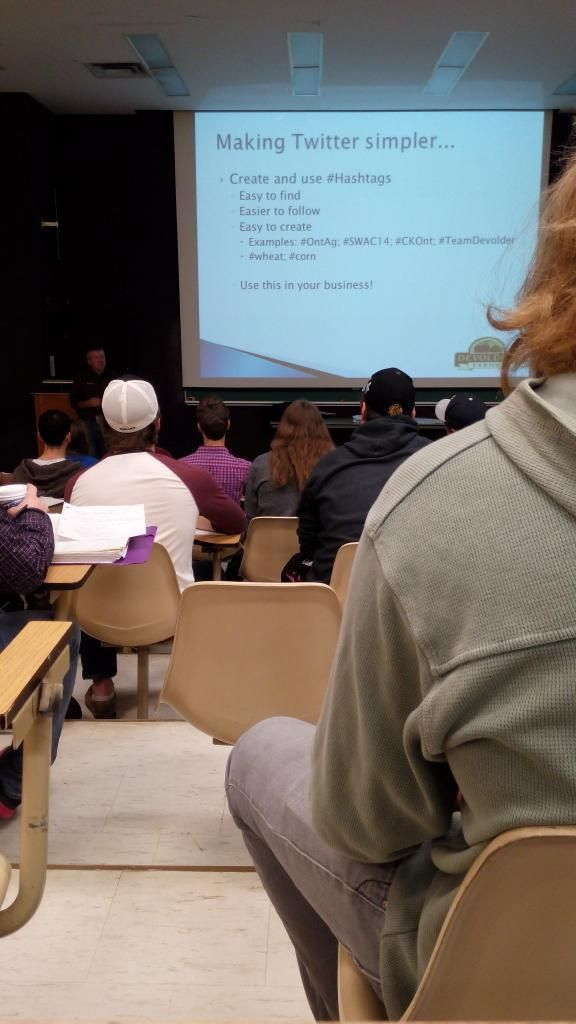 Devolder Farms employee Wayne Black giving social media presentation at Ridgetown College to an Ontario agriculture communications class