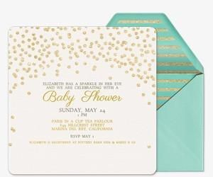 mint green and gold colour scheme  Baby Sparkle Invitation