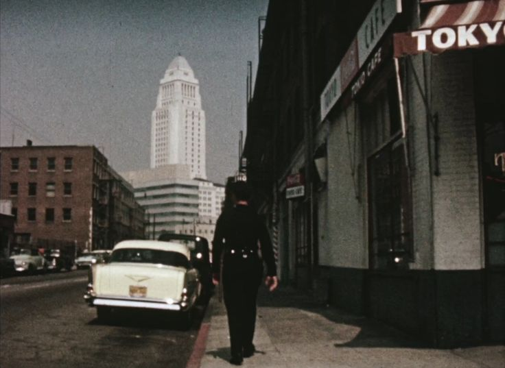 Police baton, 1958 // Police training film demonstrating the use of a baton, 1958. Dramatization on Weller Street (later renamed Astronaut Ellison S. Onizuka Street), Little Tokyo, Los Angeles, California. Training at the Los Angeles Police Academy, 1880 Academy Drive.