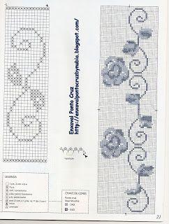 Enxoval Ponto Cruz by Núbia Cortinhas: caminho de mesa em ponto cruz c/ bico de crochê