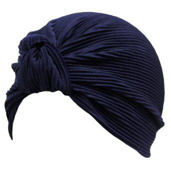 Navy Blue Thin Pleated Polyester Turban Hat Head Cover Sun Cap Luxury Divas. $9.99