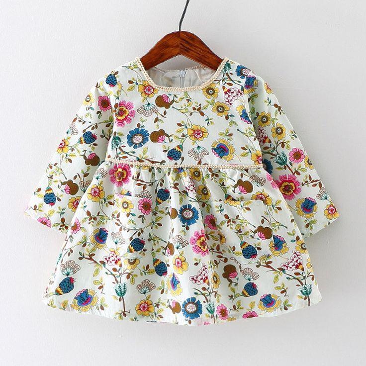 Outono Vestido Da Menina Do Bebê Infantil Algodão Vestido com Estampa Floral…