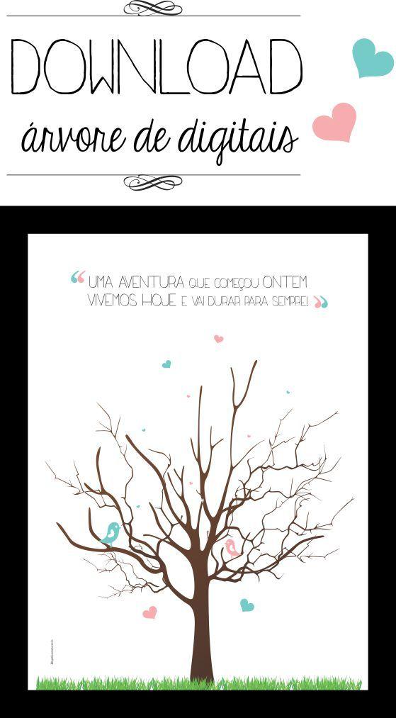 Livro de assinatura: árvore de digitais para download | http://www.blogdocasamento.com.br/faca-voce-mesmo/papelaria/arvore-de-digitais-para-download/