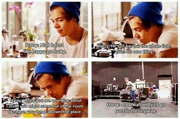Aww harry talking about the most care free mofo ever niall
