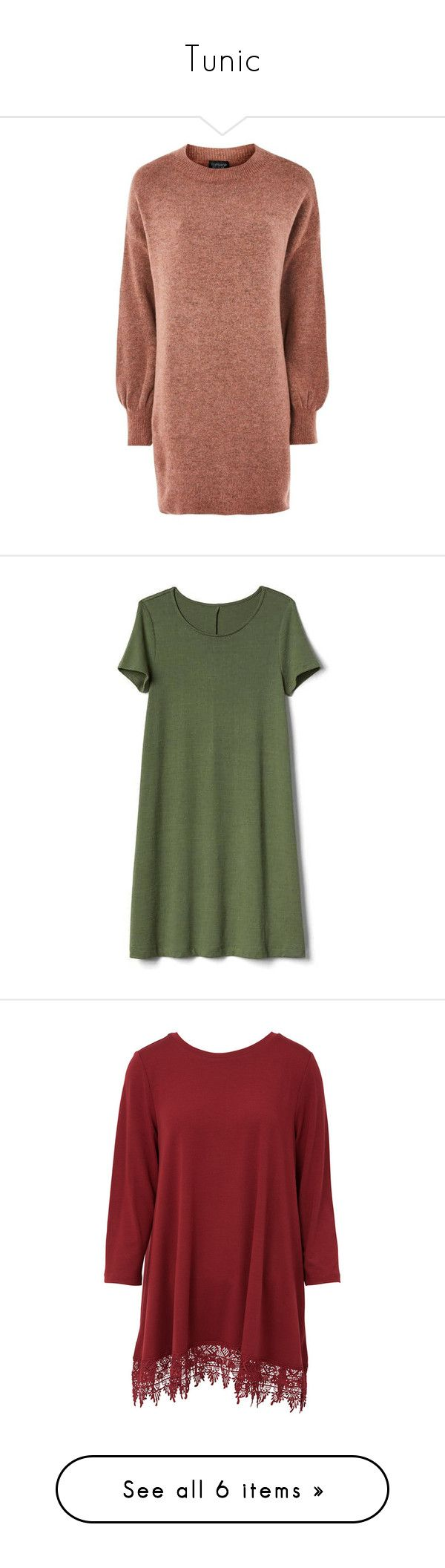"""""""Tunic"""" by lydpanth-th-hen ❤ liked on Polyvore featuring dresses, beige sweater dress, slouchy sweater dress, slouchy dress, slouch dress, oversized sweater dress, tops, jungle green, tall and green dress"""