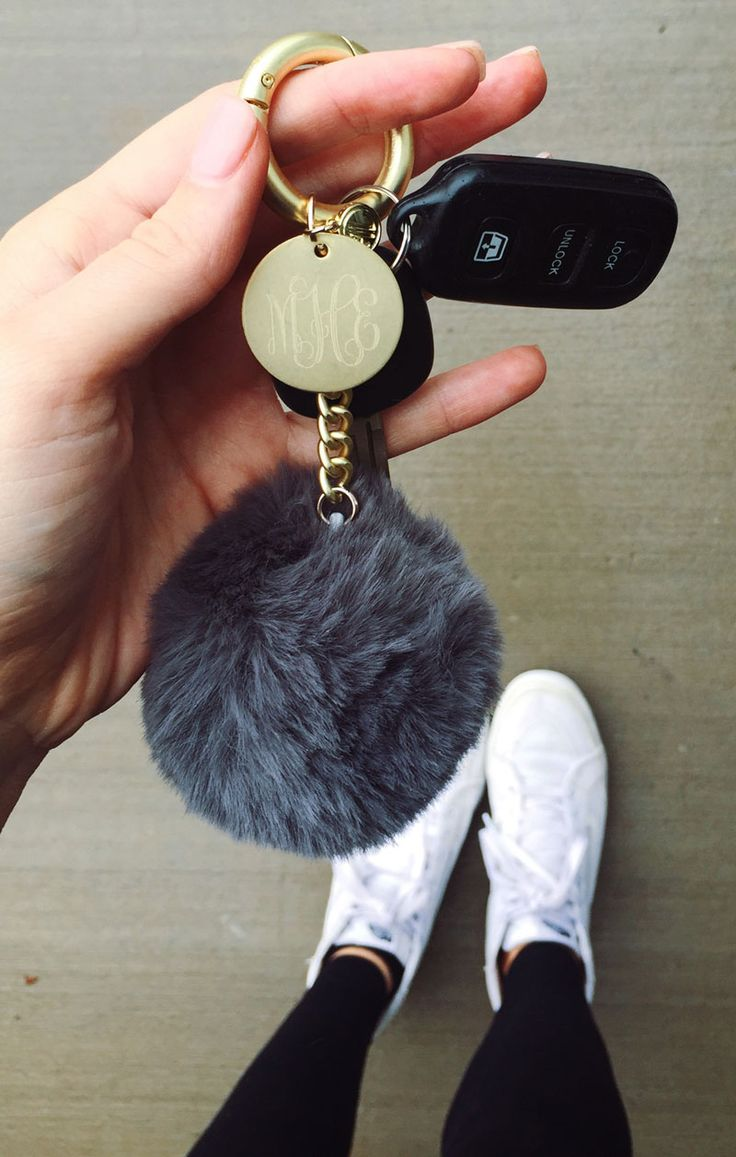 Pom pom your keys with a Monogrammed Faux Fur Key Ring NEW from Marleylilly!