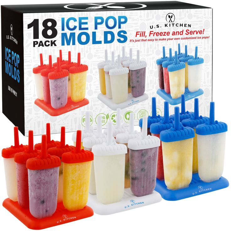 U.S. Kitchen Supply Jumbo Set of 18 Classic Ice Pop Molds - Sets of 6 Red, 6 White & 6 Blue - Reusable USA Colored Ice Pop Makers - Fill, Freeze & Serve Healthy Kids Treats