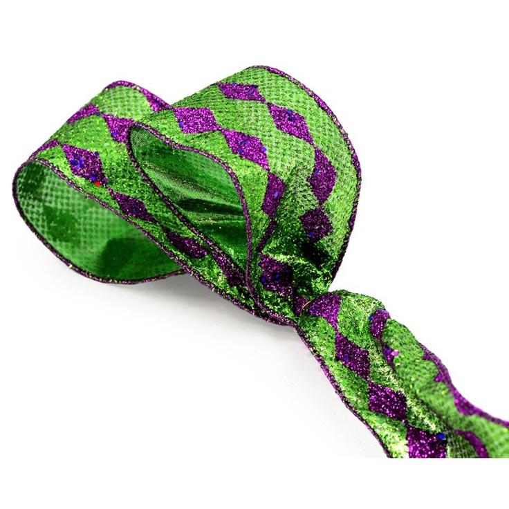 Purple and Green Harlequin Ribbon, Great for Mardi Gras Decor!
