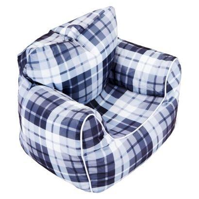 Boys Bean Bag Chair With Piping Grey Plaid