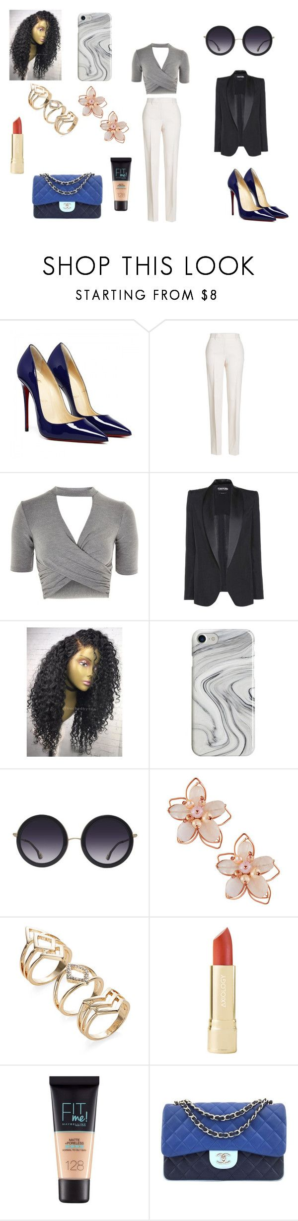 """""""Sans titre #2358"""" by amandine-collet on Polyvore featuring mode, Jil Sander, Topshop, Tom Ford, Recover, Alice + Olivia, NAKAMOL, Maybelline et Chanel"""