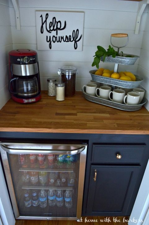 DIY Beverage Bar built in a closet under the stairs / http://athomewiththebarkers.com