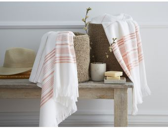 Linge de bain - #orange  -#hammam Serviette jacquard - Blanc Cerise