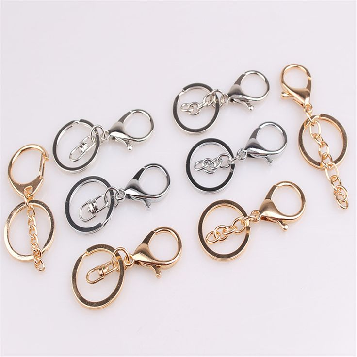 Gold Silver Bronze Plated Lobster Clasp Keyring Keychain for DIY Findings Jewelry Making Supplies