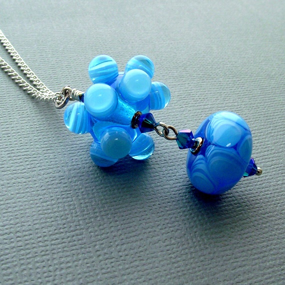 blue lampwork bead necklace