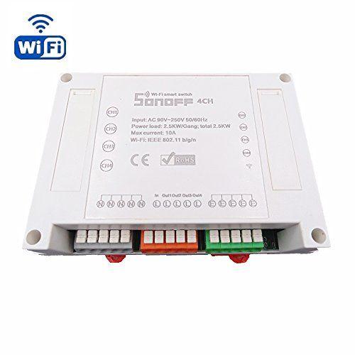 heanttv sonoff Wireless Switch Smart Home Automation commutateur Module minuteur DIY WiFi Télécommande Universelle sur iOS Android (quatre…