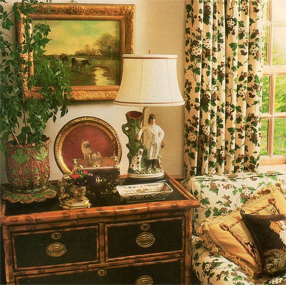 Charles Faudree custom lamp, Brunschwig & Fils fabric, bamboo trimmed chest from Traditional Home magazine, April 1990