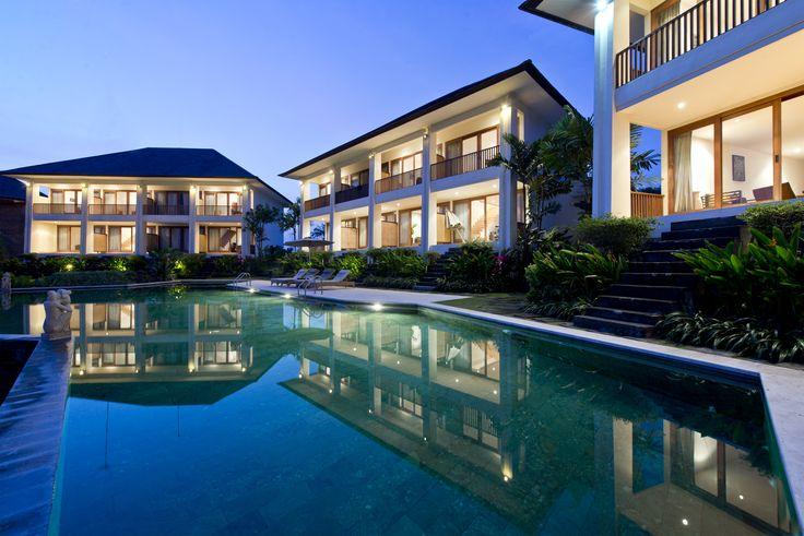 Bali Indonesia Pool side at Sahaja Sawah Luxury Resort