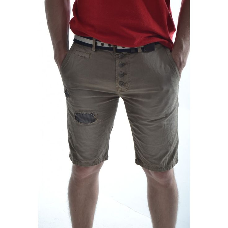 Pánske krátke nohavice so záplatou - hnedé