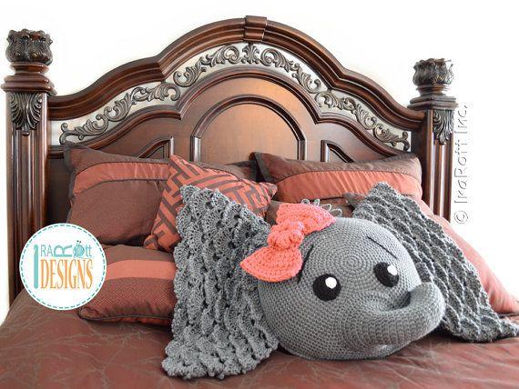 NEW PATTERN Josefina and Jeffery Elephant Pillow PDF Crochet Pattern with Instant Download