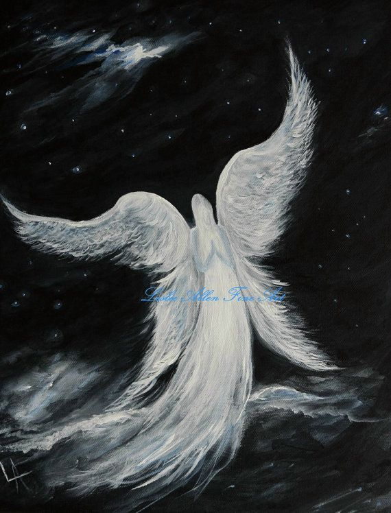 Angel  Painting Angels Paintings Art by LeslieAllenFineArt on Etsy, $70.00