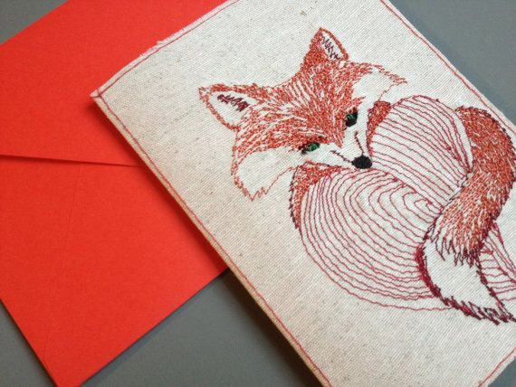 Embroidery Valentins card by BonitoFracaso on Etsy #etsy #hand made #valentines #valentines card #love #fox