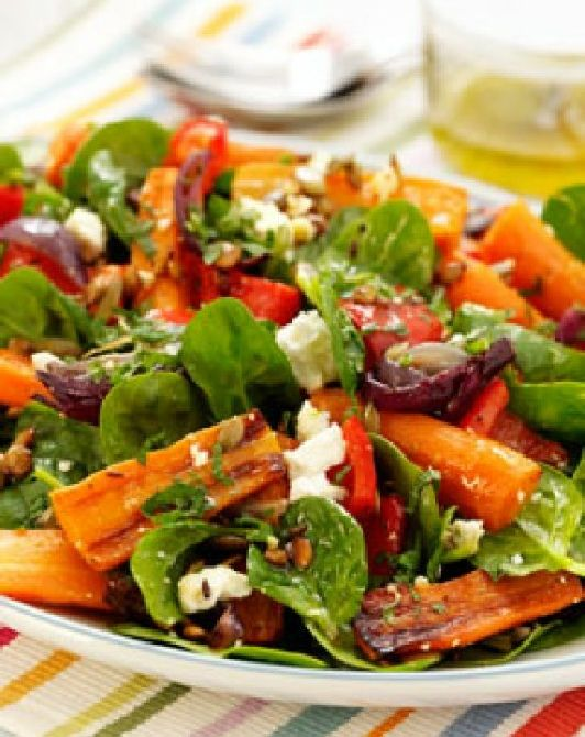 Low FODMAP and Gluten Free - Roast carrot salad with feta   http://www.ibssano.com/low_fodmap_recipe_carrot_salad.html