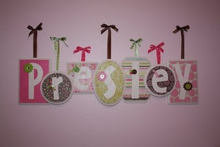 paint wood plaques white, mod podge scrapbook papers and glue embellishments...love it