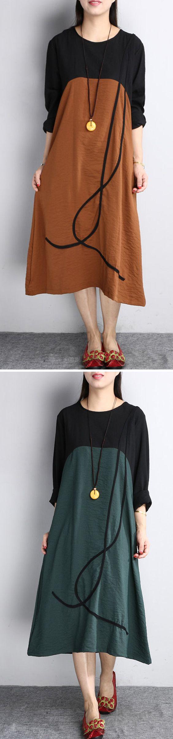 US$ 25.99 O-NEWE Vintage Splicing Line Printed Long Sleeves O Neck Dresses