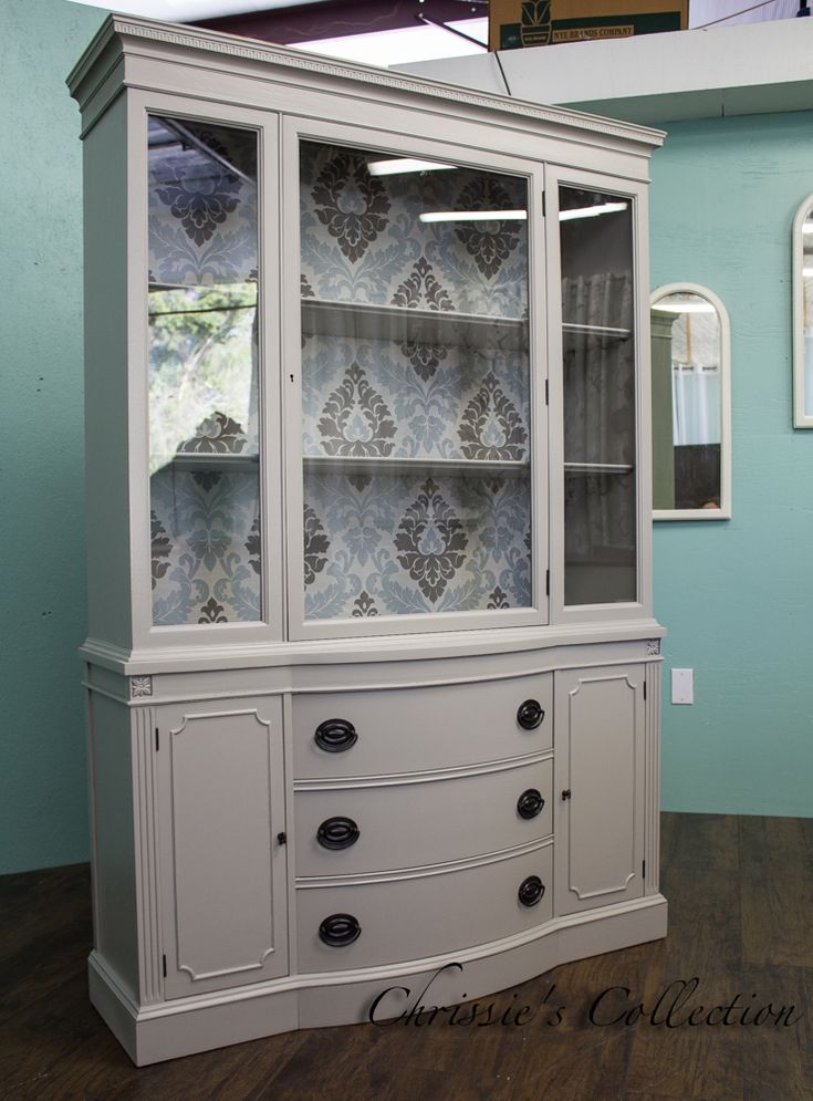 Mahogany bow front china cabinet made by Drexel. Painted in Pratt and  Lambertu0027s Ever Classic
