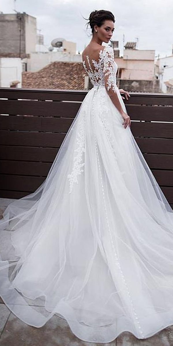 Marvelous Tulle & Organza Jewel Neckline 2 In 1 Marriage ceremony Attire With Removable Skirt & Lace Appliques & Beadings