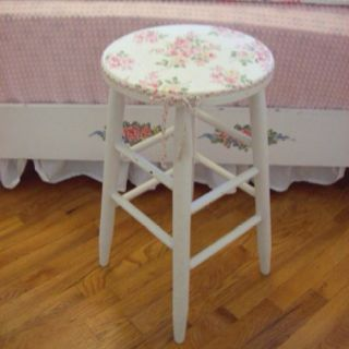Stool refinished shabby chic with an antique napkin decoupaged to top with a now attached.