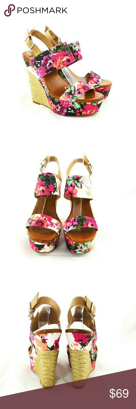 """Jessica Simpson Anika Floral Wedge Sandals Thanks for checking out my closet. I take all my own pics. The shoes are authentic and new in box. Shoes have a textile upper with 1.5"""" platform and 5"""" heel. Jessica Simpson Shoes Sandals"""