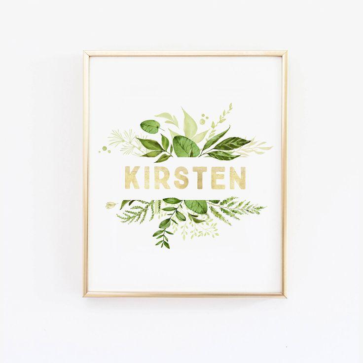 Greenery Nursery Name Wall Art   Greenery Wreath   Green Nursery   Leaf  Print   Leaf