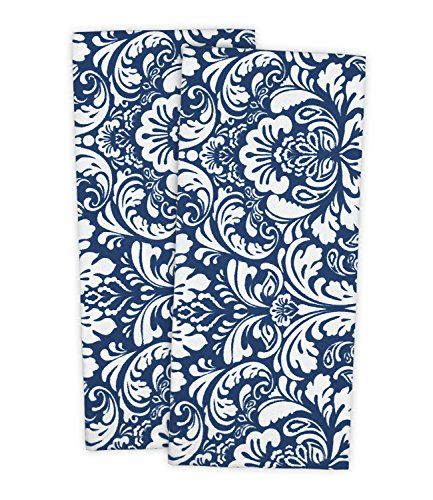 "DII 100% Cotton Everyday Basic Kitchen Dishtowel Tea Towel Drying Damask Printed 18 x 28"" Set of 2- Nautical Blue"