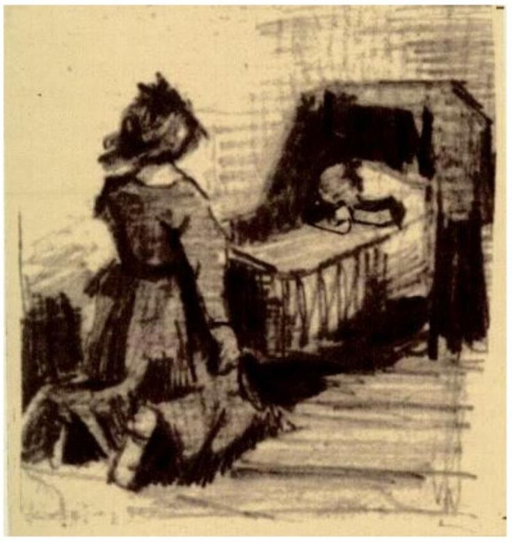 Girl Kneeling in Front of a Cradle Vincent van Gogh Letter Sketches,  The Hague: March - 21-28, 1883 Van Gogh Museum Amsterdam, The Netherlands, Europe F: ;276, ;JH: ;338