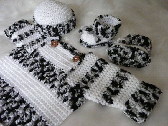 Set Baby Trui / Jasje Black & White  van ElodyKnitsforKids op Etsy