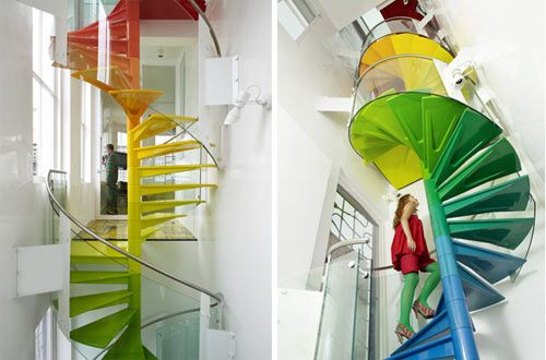 Rainbow stairs!Spirals Staircases, Spirals Stairs, Staircas Design, Staircases Design, Colors, Rainbows, Dreams House, Front Doors, Stairs Design