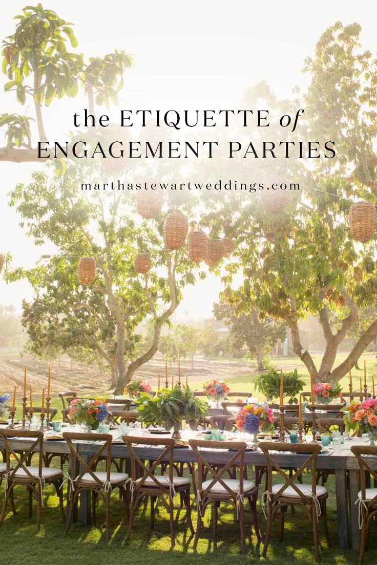 The Etiquette of Engagement Parties | Martha Stewart Weddings - With cell phones, e-mail, social media, and far fewer formalities to follow, these days the good news that a couple is on the way to becoming Mr. and Mrs. is usually spread fairly quickly. But that doesn't mean an engagement should not be celebrated, or even formally announced, with a party. Here is what you need to know about planning a prewedding soirée.