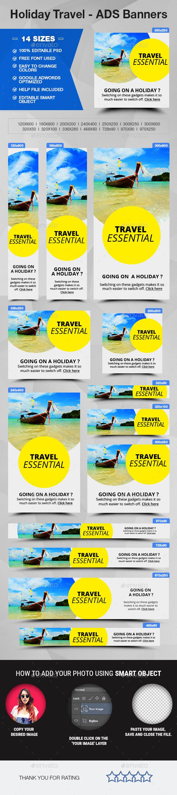 Holiday Travel - ADS Banners Template #design Download: http://graphicriver.net/item/holiday-travel-ads-banners/12269139?ref=ksioks