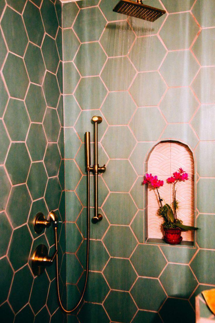 Mid Century Meets The Mediterranean In This California Condo Pink Tiles Bathroom Interior Design Small Bathroom Decor