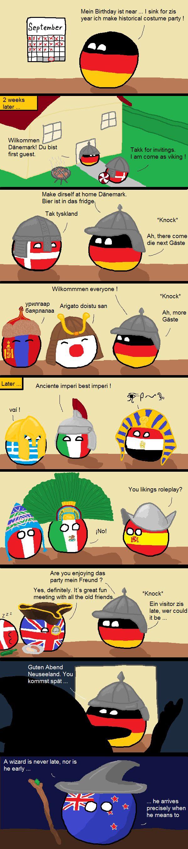 A late visitor (Germany, Denmark, Mongolia, Japan, Greece, Italy, Egypt, Peru, Mexico, Spain, UK, New Zealand) by prokaryo  #polandball #countryball