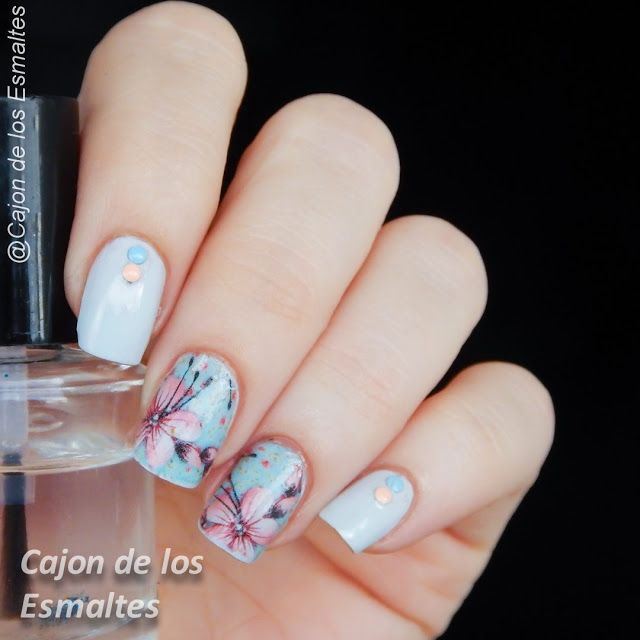 Floral nail art with transfers or decals for nails
