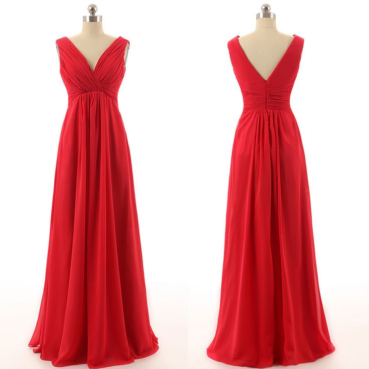 Red Bridesmaid Dress Long V Neck Bd1258