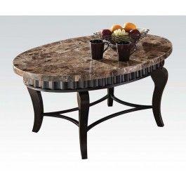 Acmef80068 Brown Marble Top Coffee Table