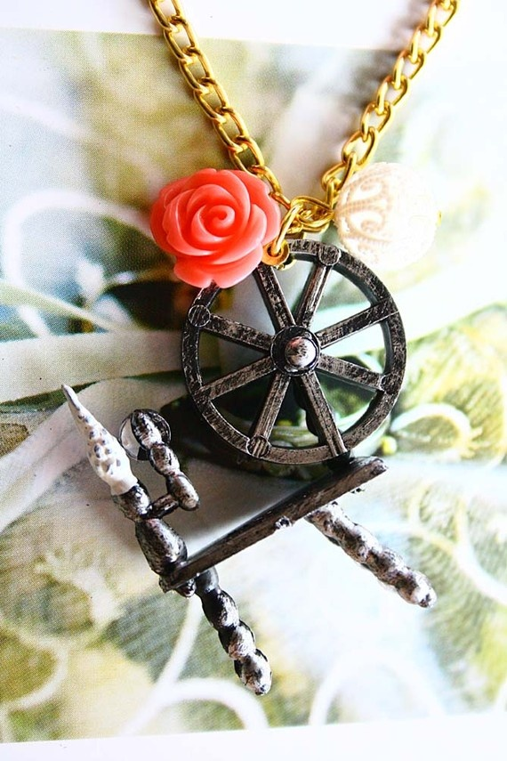 Sleeping Beauty Aurora Spinning Wheels necklace by lepetitebonbon, $20.00