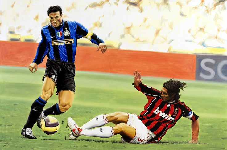 Javier Zanetti vs Paolo Maldini during a Milan-Inter Soccer Derby - Artwork by artist Andrea Del Pesco Oil painting on canvas, size cm. 120x80